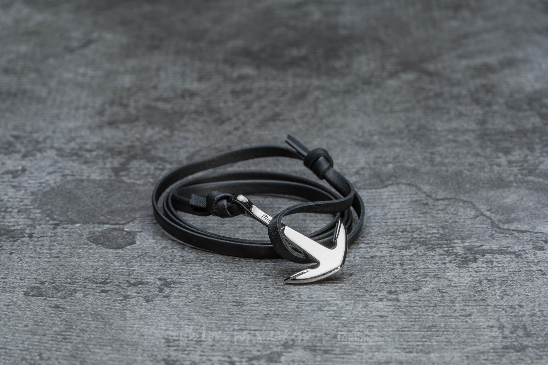 Miansai Anchor On Leather Bracelet Silver/ Black - 17903