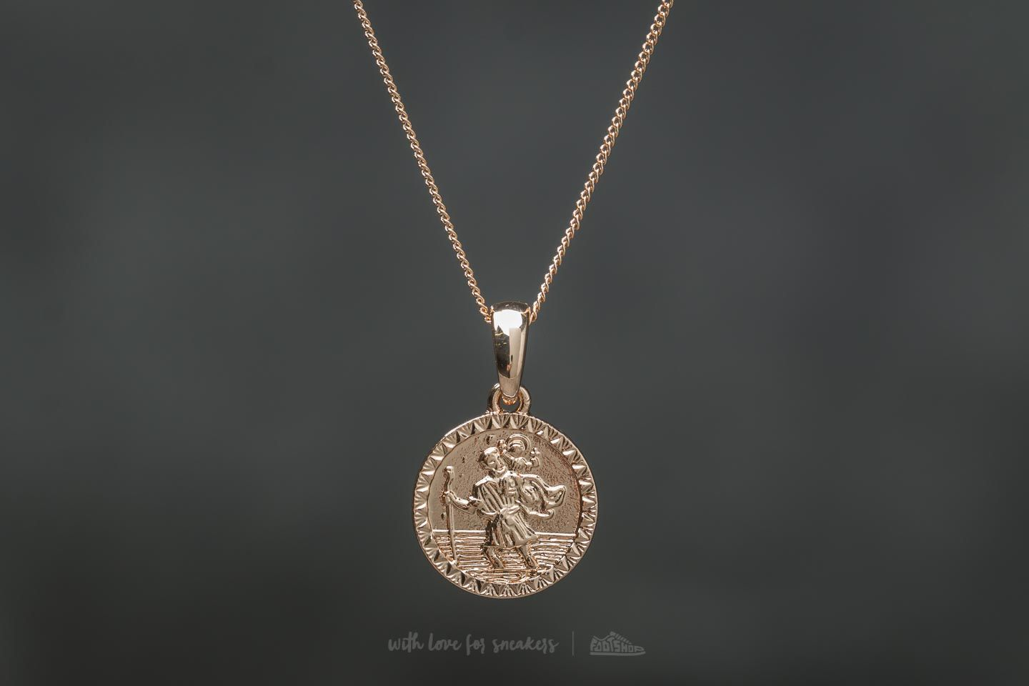 Chained and Able Old English Mini St. Christopher Necklace Gold - 19412