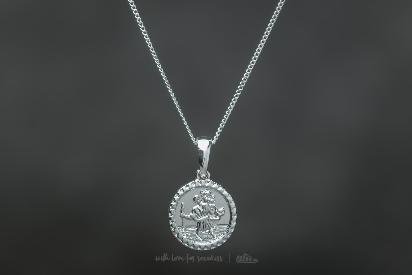 Chained and Able Old English Mini St. Christopher Necklace Silver - 19404