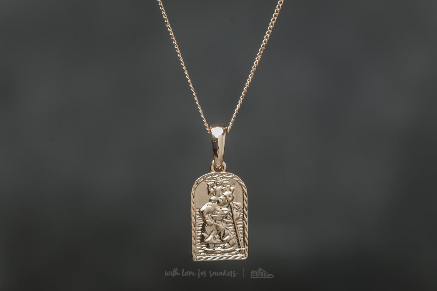 Chained and Able Old English St. Christopher Mini Tag Necklace Gold - 19410