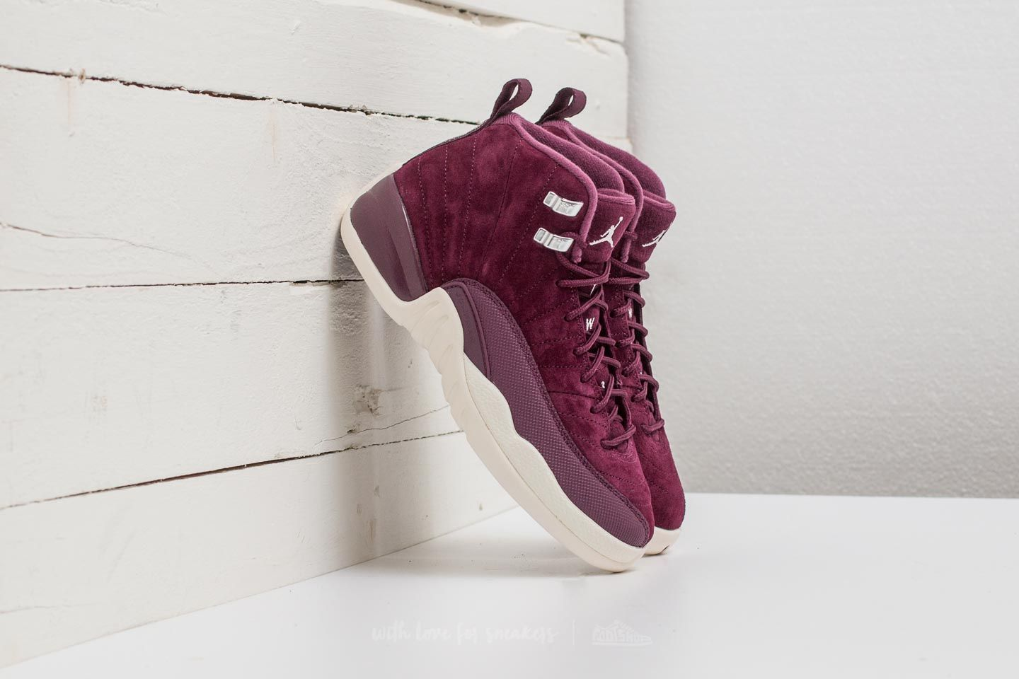 Air Jordan 12 Retro BG Bordeaux/ Sail-Metallic Silver - 21816