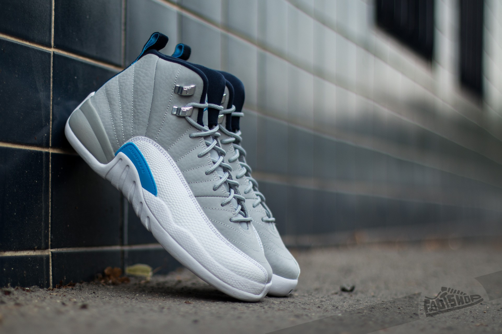 Air Jordan 12 Retro (BG) Wolf Grey/ University Blue-White-Mid Navy - 9659