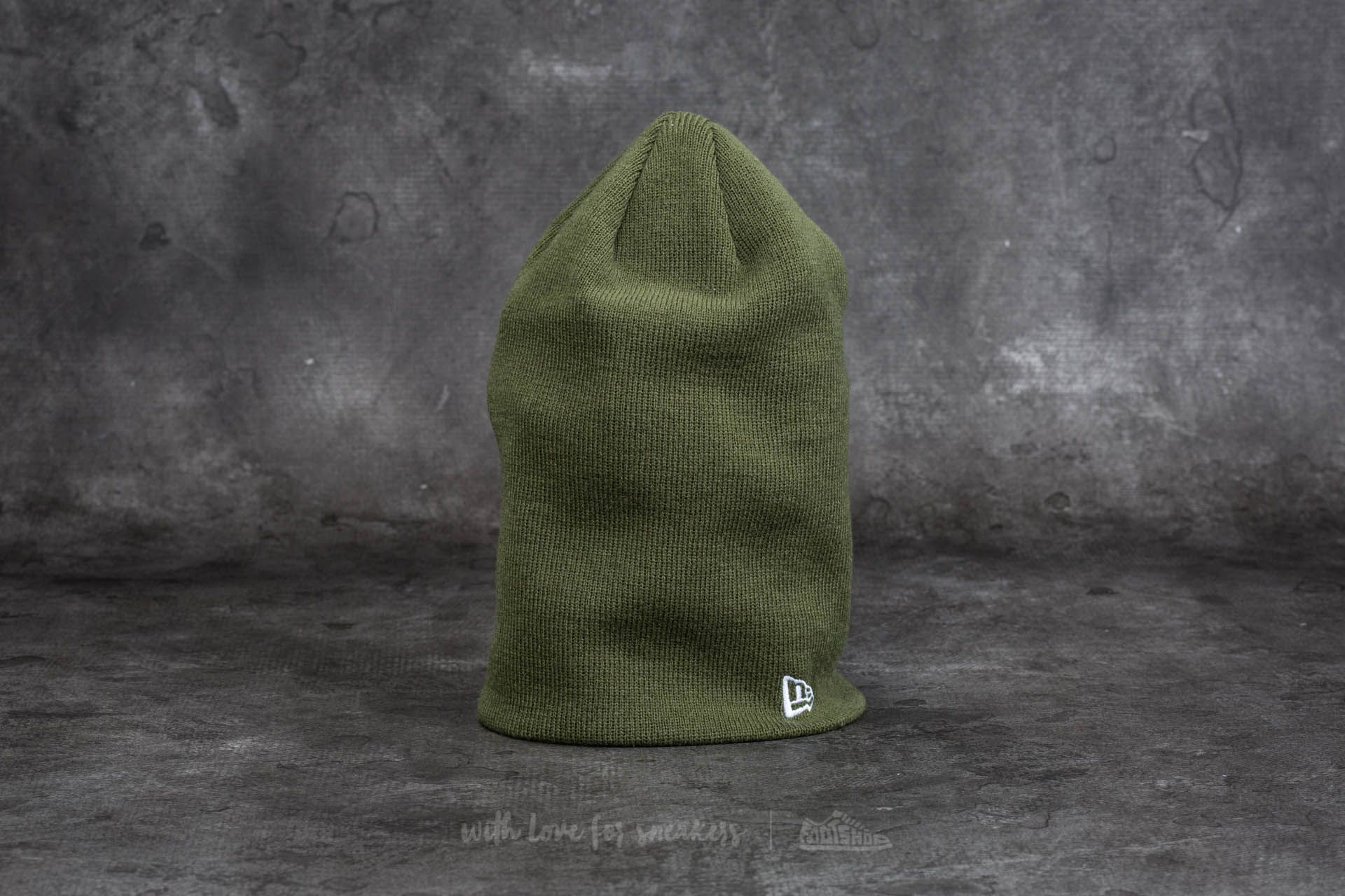 New Era Essential Long Knit Beanie Olive Green - 11737