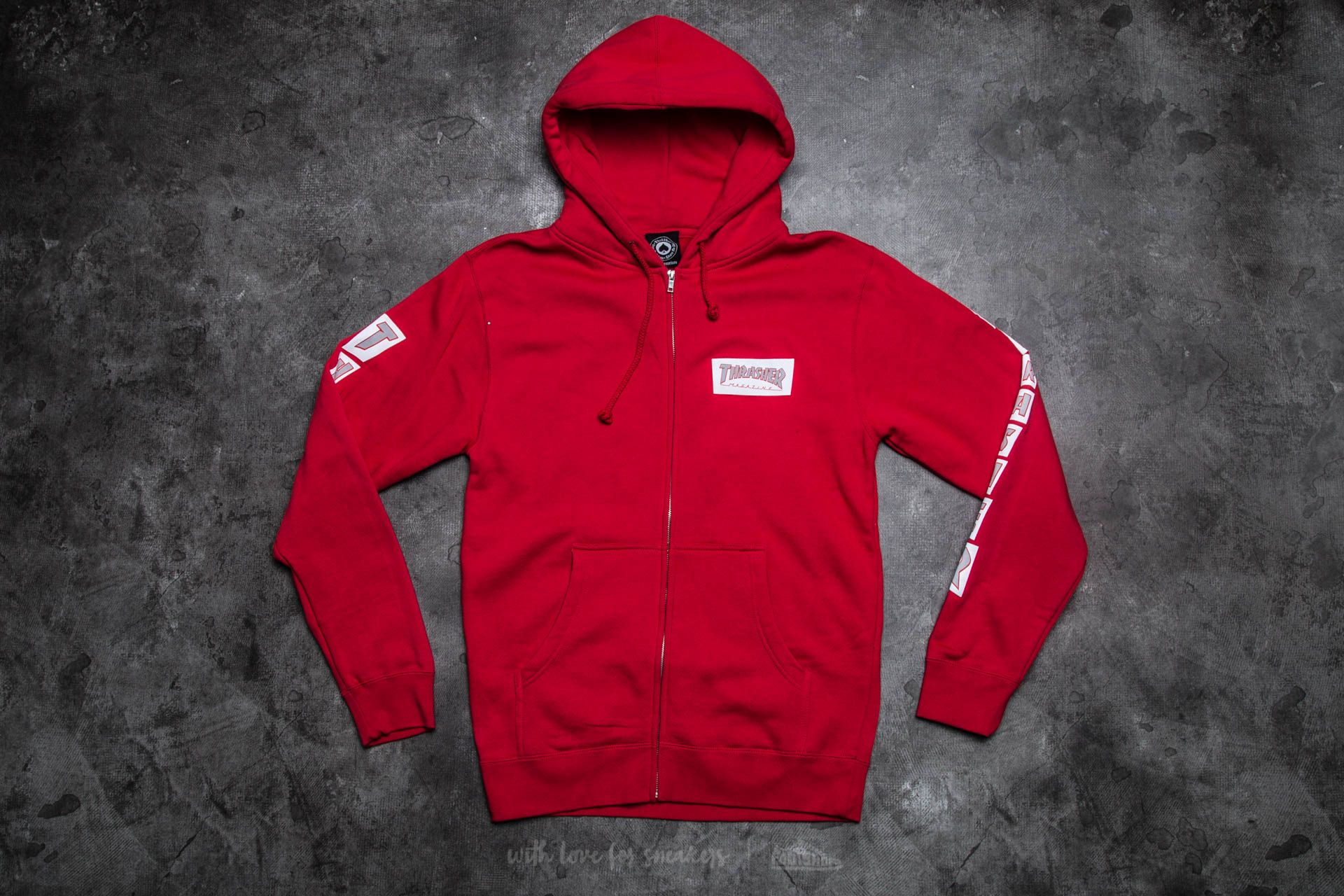 Thrasher Boxed Logo Zip Hood Red - 11701