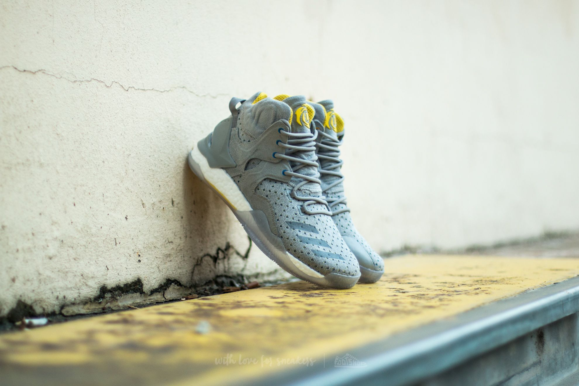 adidas Consortium x Sneakersnstuff D Rose 7 Primeknit Grey/ Core Yellow - 12169