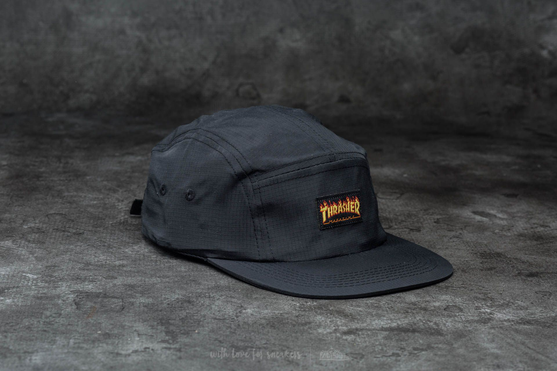 Thrasher Flame Logo 5-Panel Hat Black - 12892