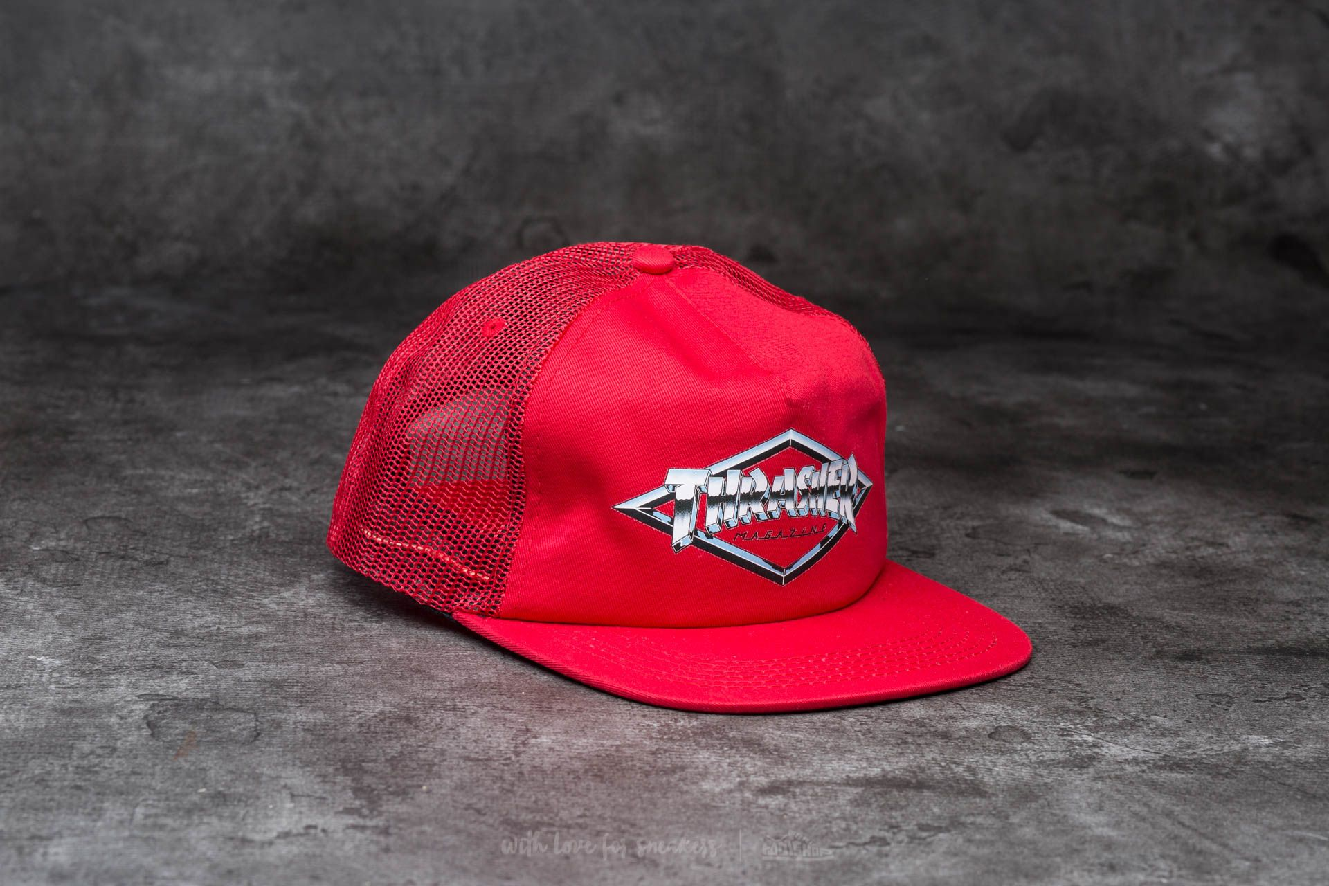 Thrasher Diamond Emblem Trucker Hat Red - 12894