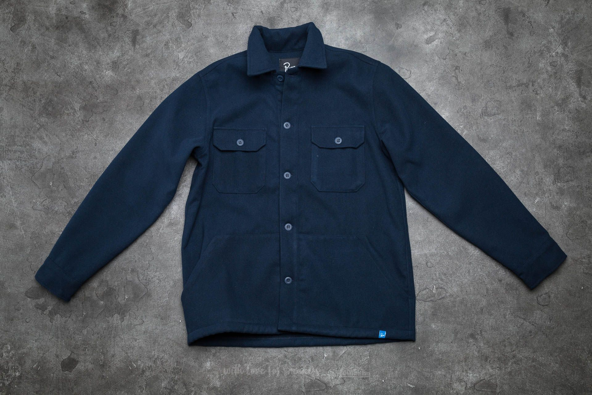 by Parra The Duck Holder Melton Wool Overshirt Navy Blue - 13683