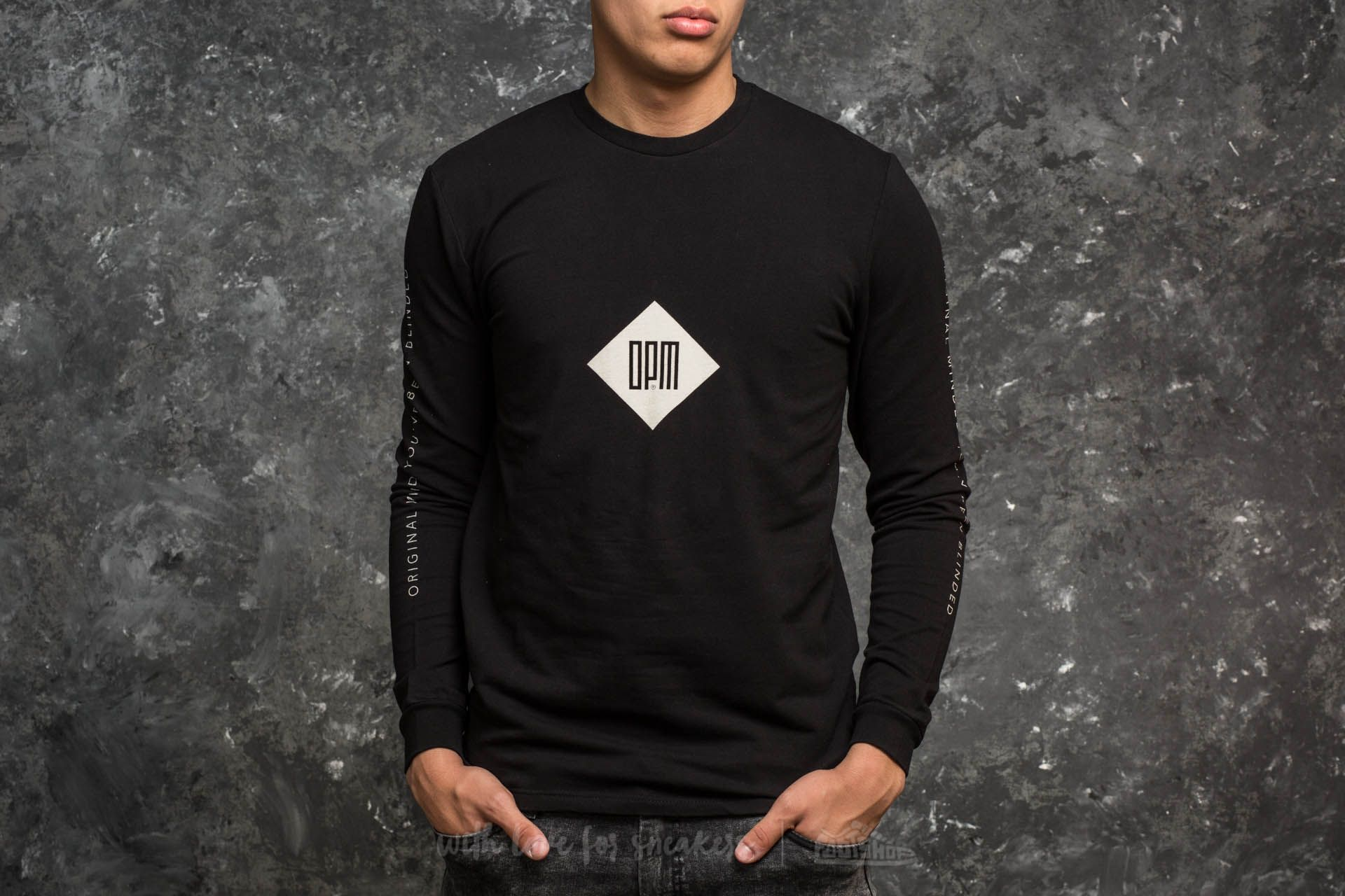 Original Peoples Mind Classic Typo Long Sleeve Tee Black - 15001