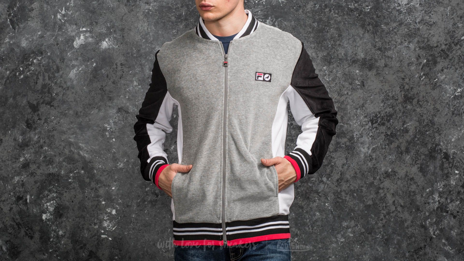 Staple x FILA Colorblocked Velour Jacket Grey - 15282
