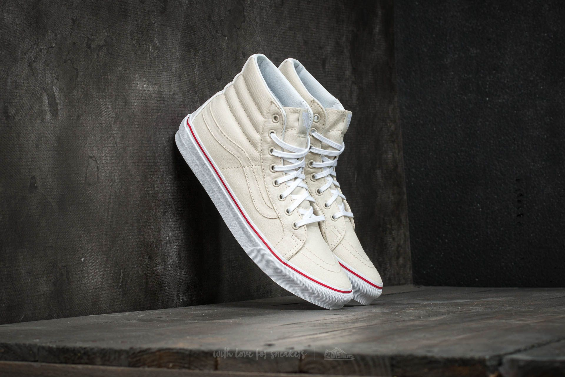 Vans Sk8-Hi Slim (Leather Canvas) Bone/ True White - 15850