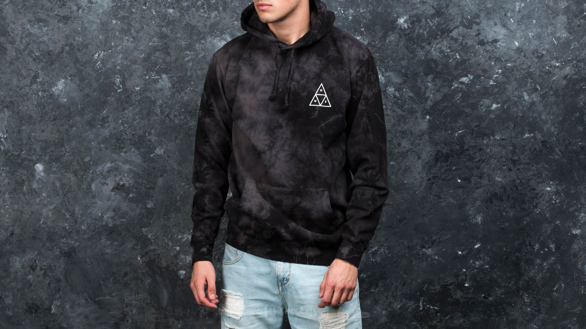 HUF Apparel 420 Triple Triangle Overdyed Plantlife Pullover Hoodie Smoke Black - 16405