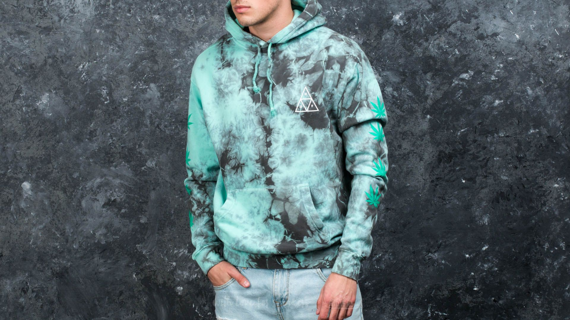 HUF Apparel 420 Overdyed Plantlife Pullover Hoodie Smoke Mint - 16404