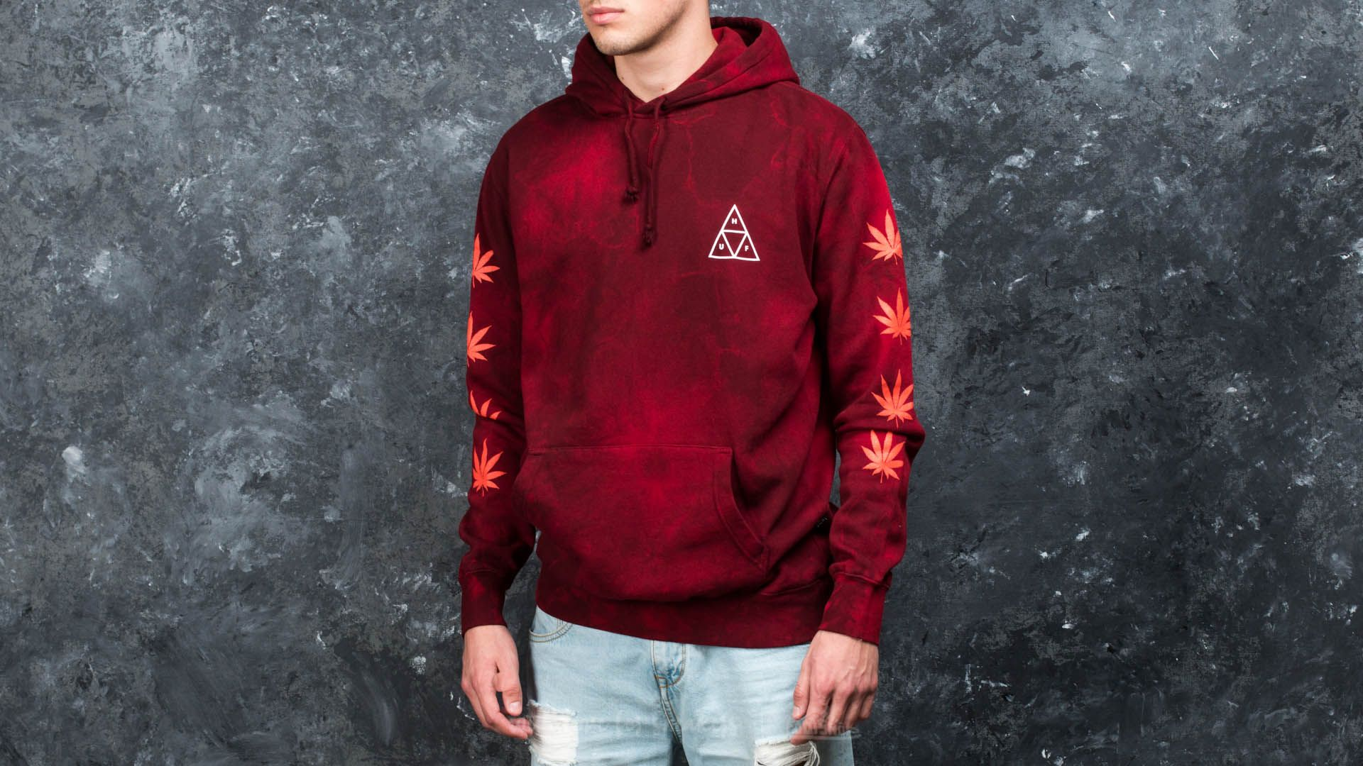 HUF Apparel 420 Overdyed Plantlife Pullover Hoodie Smoke Red - 16396