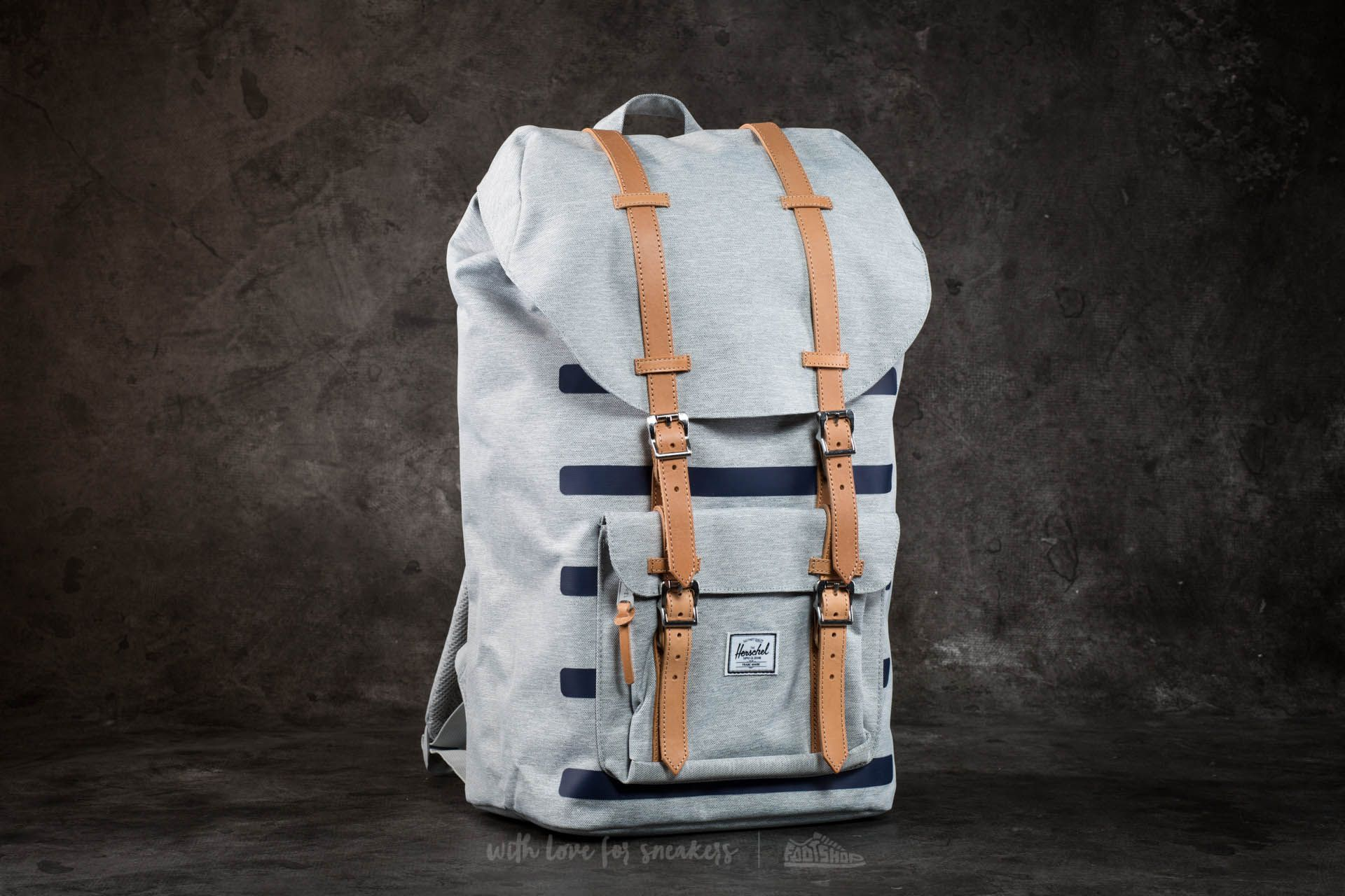 Herschel Supply Co. Little America Backpack Light Grey Croshatch Stripe - 16455
